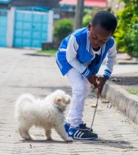 Young Boy with a Small Dog